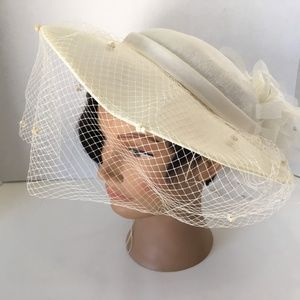 White Bowler Shallow Crown Wedding Hat with Veil